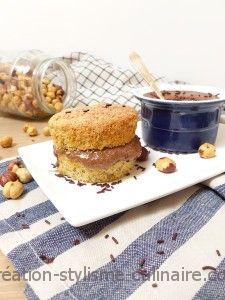 Muffins noisette, fourrage chocolat