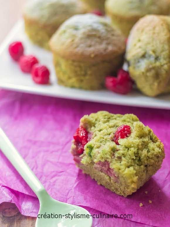 muffins pâte de pistache framboise