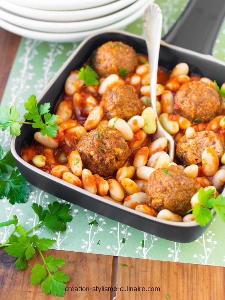 boulettes de boeuf mogette tomate-1